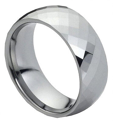 Tungsten Carbide Ring Men Women Wedding Band Domed Faceted Design Comfort Fit