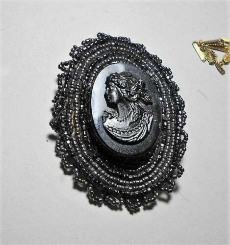 Vintage Black Beaded  Celluloid/Glass Mourning Cameo on 100 Yr Old Beaded Brooch
