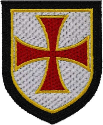 KNIGHTS TEMPLAR RED SHIELD iron-on PATCH embroidered CRUSADES