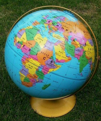"New 16"" Rand McNally Raised Elevations World Globe Classroom US Grade 2 3 4 5 6+"
