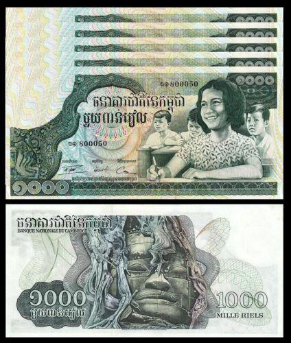 Cambodia 1000 Riels 1973 , UNC- , 5 PCS Consecutive Lot , P-17 , Large Size