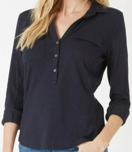 The White Company Half Placket Cotton Jersey 3/4 Length Sleeve Shirt – Navy US 6 Clothing, Shoes & Accessories