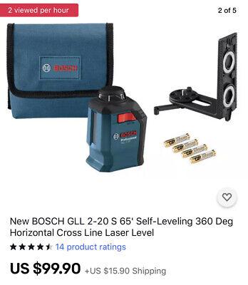 New Bosch Gll 2-20 S 65 Self-leveling 360 Deg Horizontal Cross Line Laser Level