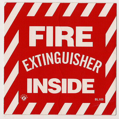 Two Self-adhesive Vinyl Fire Extinguisher Inside Sign...4 X 4 New