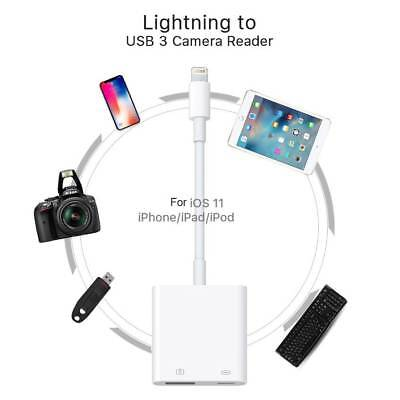 Lightning to USB 3 SD Dance-card Camera Reader Adapter Data Sync Cable For iPhone 7