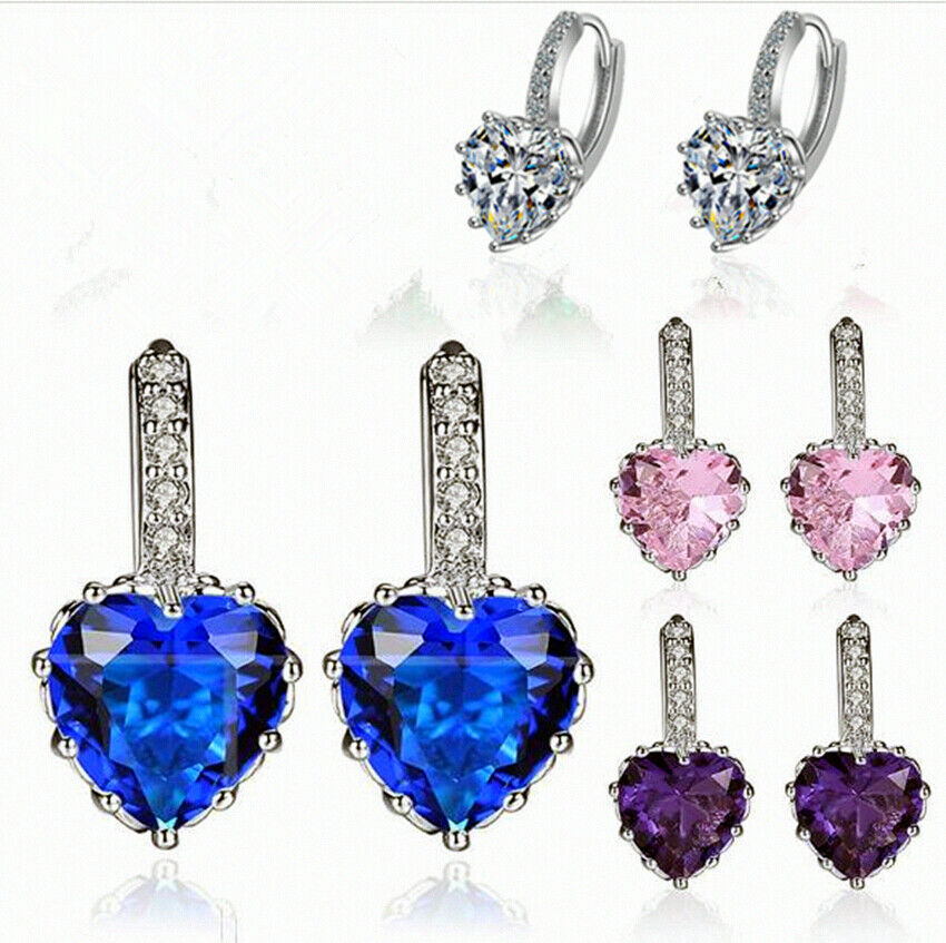 Jewellery -  Heart Charm Stone Stud Earrings 925 Sterling Silver Womens Girls Jewellery Gift
