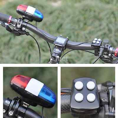 Bike for Safety Cycling 4 Sounds 6 LED Police Car Siren Electric Light Horn Bell