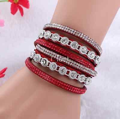 Fashion Crystal Rhinestone Wrap Leather Bracelet Multilayer Bracelet Bangle CA