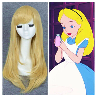 Long Straight Blonde Alice in Wonderland Cosplay Full Wigs Costume Prop Gift