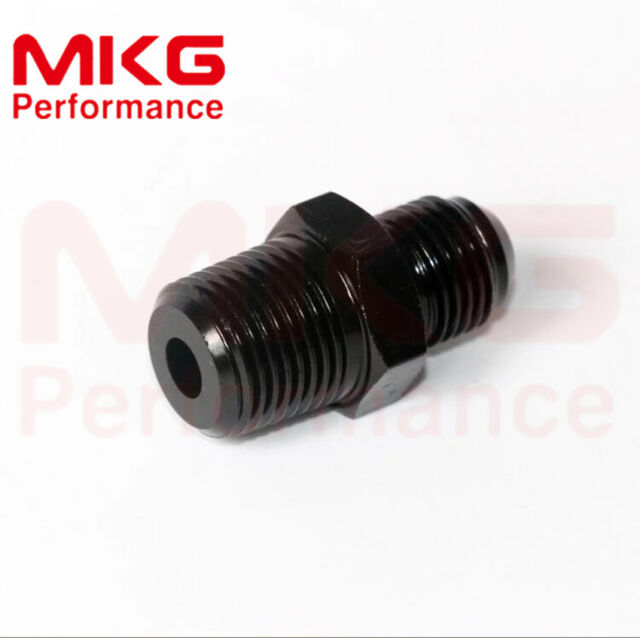 Aluminum Straight Reducer Fuel fittings Adaptor Male AN8 AN-8 To 3/8 BSPT Thread
