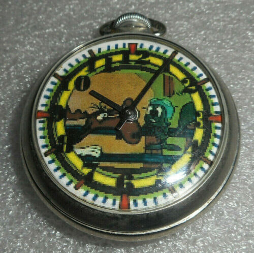 MARVIN THE MARTIAN POCKET WATCH  /  INGRAHAM COMPANY POCKET WATCH FROM 1950