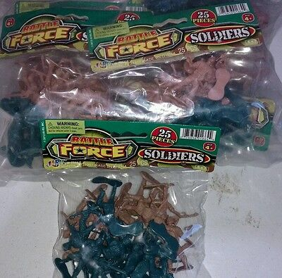 New Lot of 6 - Battle Force Pack 50 Army Men,Soldiers in Tan and Green FREE Ship