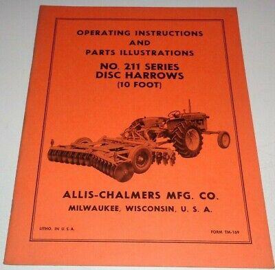 Allis Chalmers 211 Series Disc Harrow Operators Parts Manual Ac Original