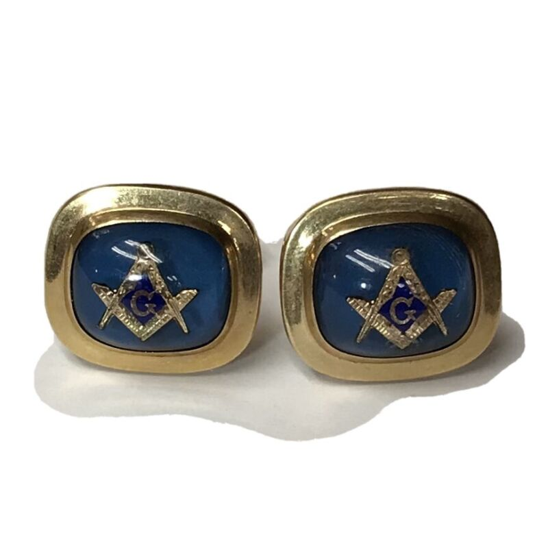 Vintage Hayward 1/20 12k GF Cobalt Blue Masonic Cufflinks