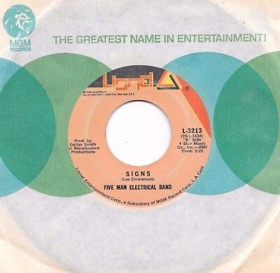 FIVE MAN ELECTRICAL BAND * 45 * Signs * 1971 * USA ORIGINAL * VG Vinyl * LIONEL