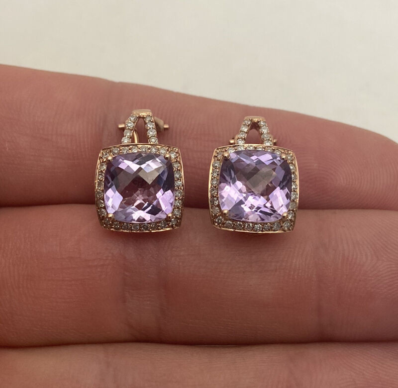 14ct Gold Amethyst & Diamond Heavy Art Deco Design Cluster Earrings 14K 585.