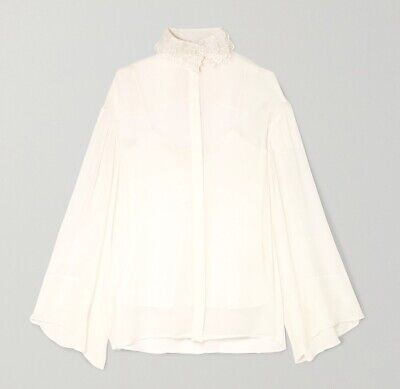 THE ROW New Sarabee embroidered chiffon blouse, lined $2000, sz XS oversized