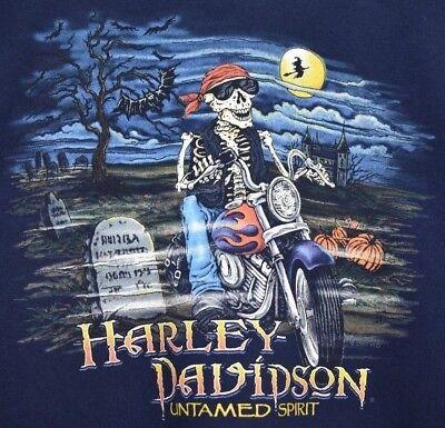 Harley Davidson Mens 2XL Blue Pullover Untamed Spirit Halloween Rider Cotton ](Halloween 2 Harley)