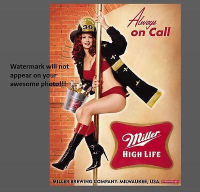 Miller High Life Beer Ad Girl PHOTO,Liquor Bar Sign Vintage Design Advertisement
