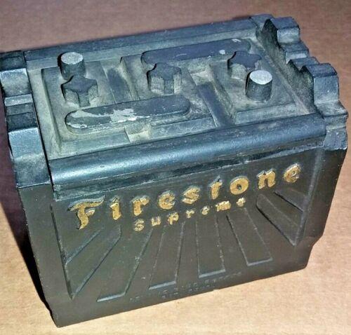 RARE Vtg Small Firestone battery trinket box Advertising