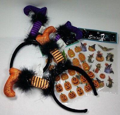 LOT Halloween Items Stickers Headbands Holiday Decor Purple Orange Kids Fun Gift