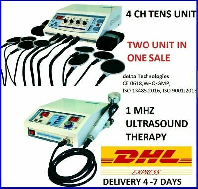 Combo Offer Ultrasound Therapy Unit 1mhz Therapeutic Electrotherapy 4 Channel