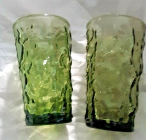 Anchor Hocking Crinkle Glass Green MILANO LIDO Small Juice Glass (2) Glasses