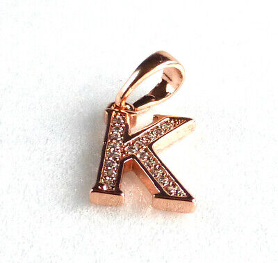 Letter K or Z Heart Love Charm 18K Gold Plated Simulated Diamond Pendant Only UK ()