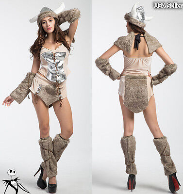 Halloween Girl Furry Viking Deluxe Warrior Cosplay Carnival Party Stage Costume