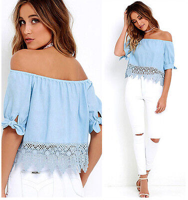 Fashion Summer Lace Off-shoulder Women's Ladies Casual Blouses Crop Tops T-Shirt