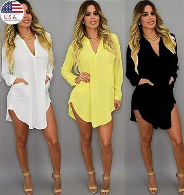 ✅Women's Long Sleeve Shirt Loose Long Tops Blouse Casual V Neck Mini Dress USA