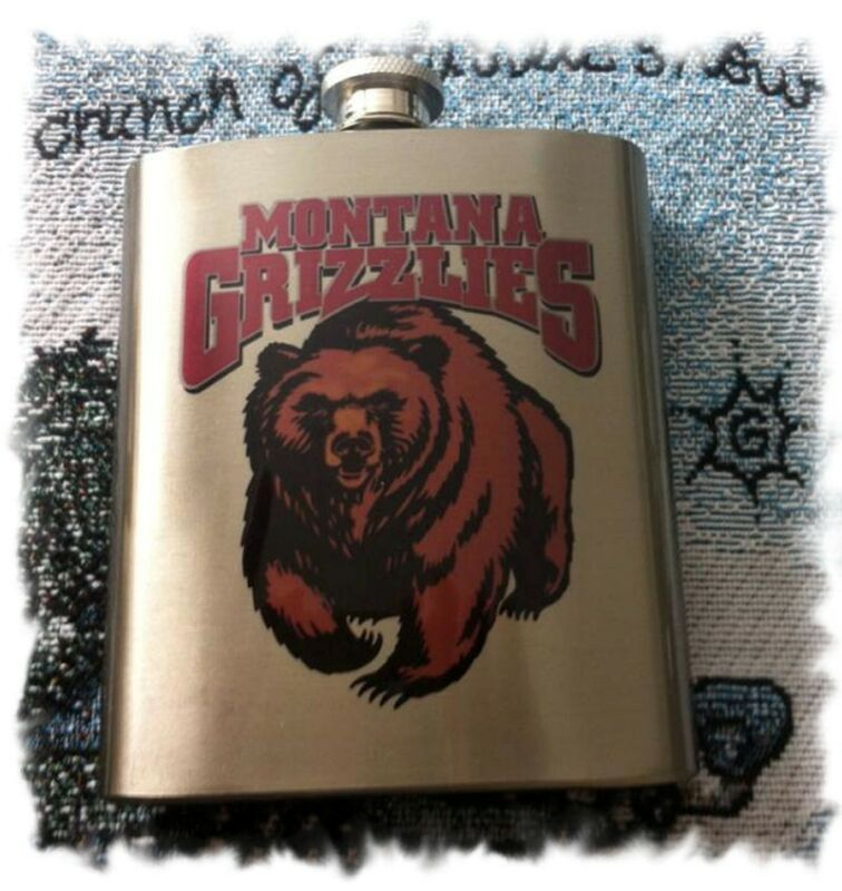 University of Montana  _Grizz_  7 ounce Stainless Steel Flask
