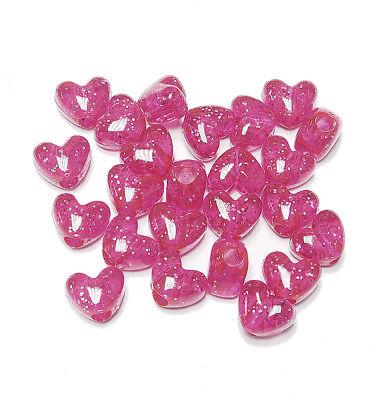 Hot Pink Sparkle Heart shaped Pony Beads USA kids valentine school crafts