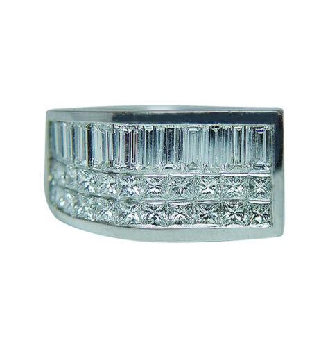 Vintage 18K White Gold Princess Baguette Diamond Ring HEAVY Estate GIA