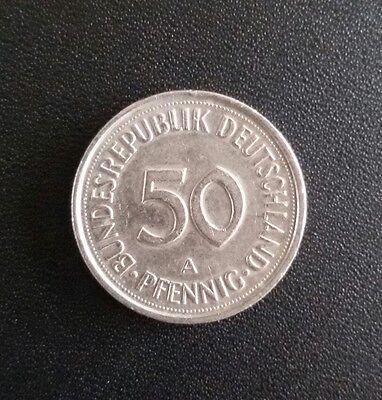 50 Pfennig Münze 1990 A, Geld, benutzte Münze