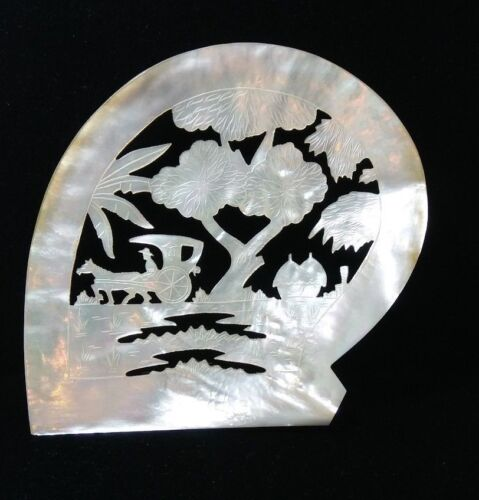 Vintage Hand Carved Philippine Mother of Pearl Plaque
