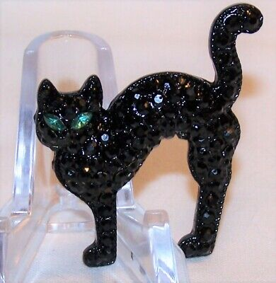 Halloween Black Cat Eyes (Halloween Black Cat Pin Brooch-Rhinestones Green Stone Eyes-Signed)