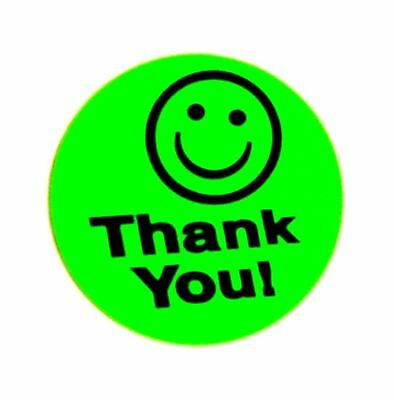 250 Green Big Thank You Smiley Label Sticker Best Price Free Ship 1 12 Round