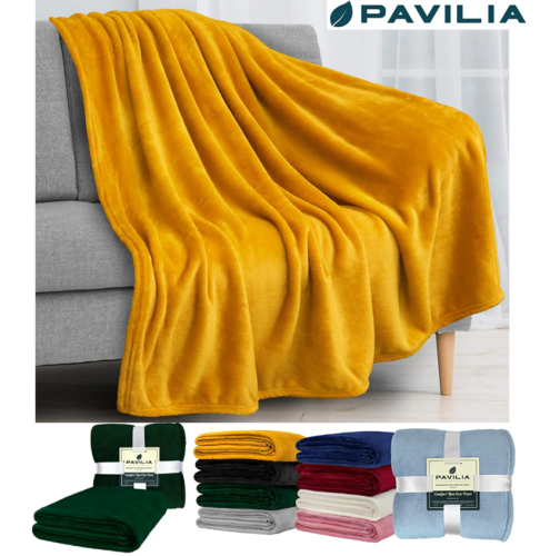 HOMEIDEAS Extra Soft Fleece Blanket Twin Size 66 x 90 Inches Warm 380GSM Fuzzy Flannel Fall Blanket for All Season for Couch Bed Navy