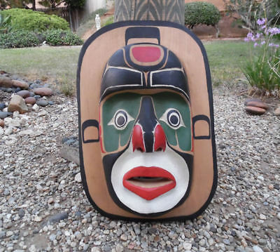 NORTHWEST COAST KWAKIUTL MOON MASK SIGNED RODNEY SEAWEED ALERT BAY BC