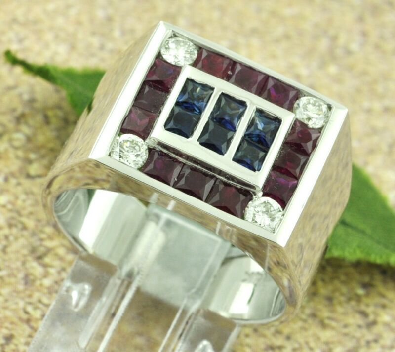 1.65 Ct 14k White Gold Mens Natural Ruby Sapphire Diamond Ring Made Usa American