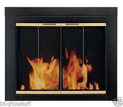 Fireplace Screens Doors - Pleasant Hearth Glass Fireplace Door Arrington Black Medium AR-1021 Mesh Screens