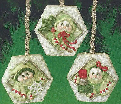 Ceramic Bisque Ready to Paint (3) Hexagon Snowlady ornaments