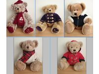 """Harrods 1999 2000 2001 2002 2003 Foot Dated 13"""" Annual Christmas Teddy Bears Used For Display Only"""