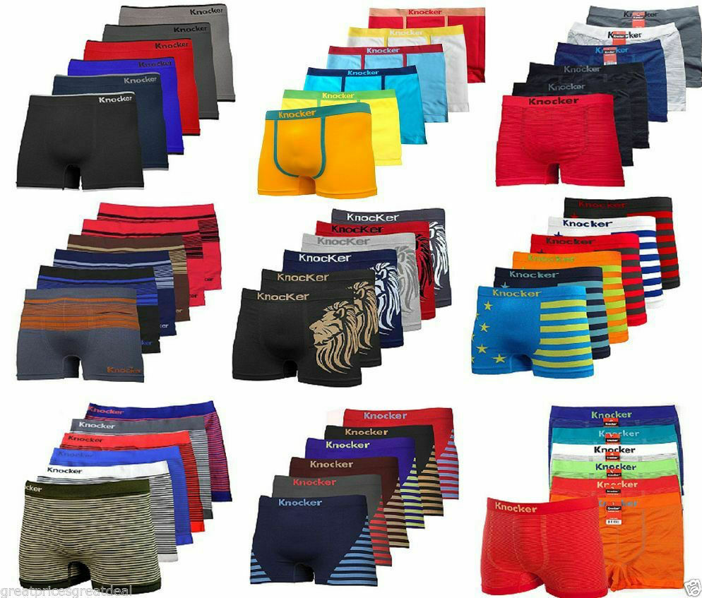 3, 6, 12 Mens Seamless Boxer Briefs Knocker Shorts Lot New U