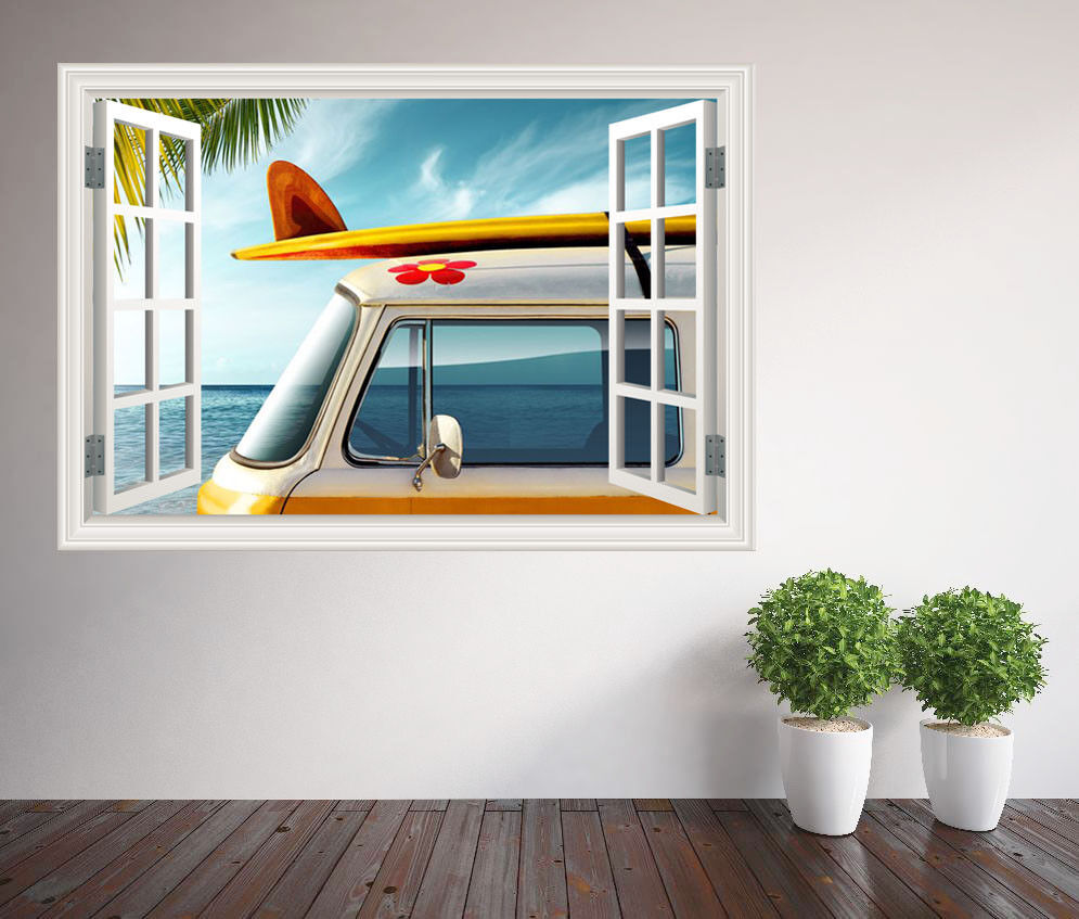 Wohnmobil Strand Surfen Fenster Wandaufkleber Wandbild (6582453ww) Surf Bus