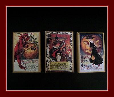 THREE HALLOWEEN GIFT BOXES VINTAGE HALLOWEEN POSTCARD DESIGNS - Halloween Three