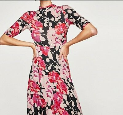 Zara pink floral dress new size S