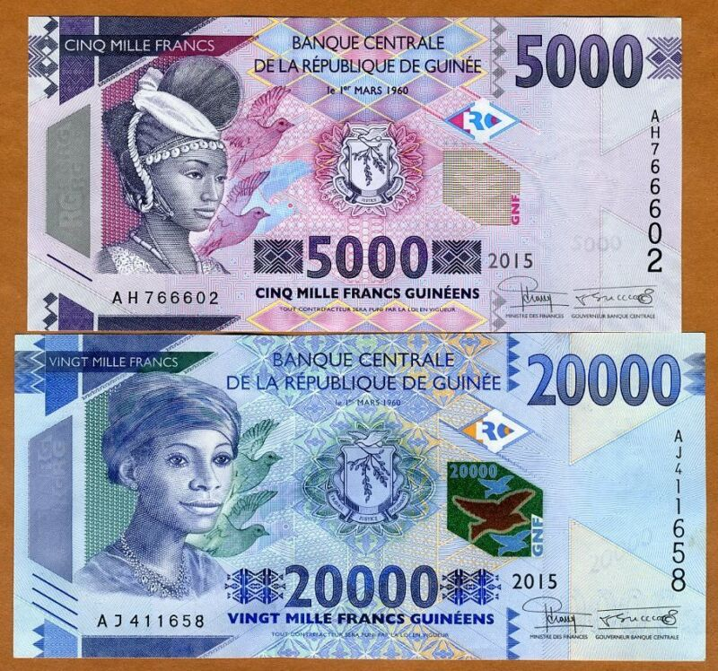 SET Guinea, 5000;20000 francs, 2015, Pick New, UNC, Redesigned