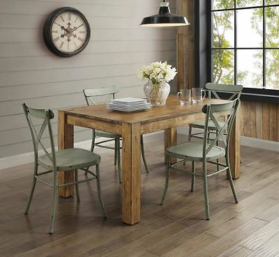 Farmhouse Dining Table Set Rustic Wood Country Kitchen Metal Green Chair 5 Piece ()